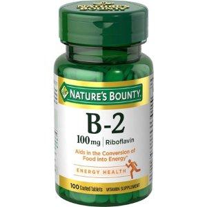 Nature's Bounty B2 Riboflavin Tablets, 100mg, 100Ct - Walmart.com