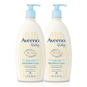 Aveeno BabyDaily Moisture Lotion with Oatmeal & Dimethicone, Fragrance-Free, 18 fl. oz, Twin Pack