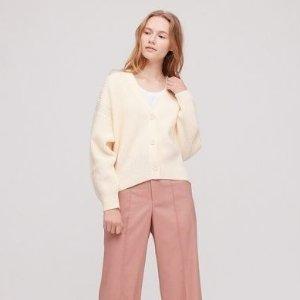 Uniqlo粉紫色针织开衫
