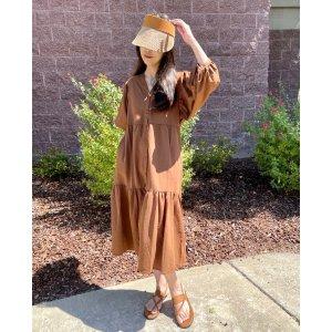 Mango52%人造丝摩卡色简约裙