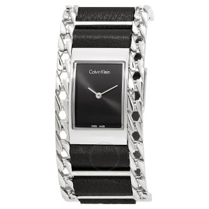 Calvin KleinImpeccable Black Dial Ladies Learher and Steel Watch Impeccable Black Dial Ladies Learher and Steel Watch
