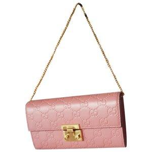 Gucci粉色logo链条包
