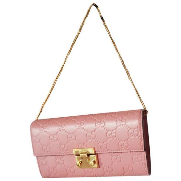 粉色logo链条包