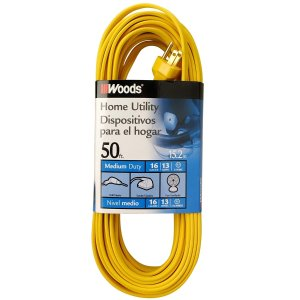 Woods 0832 SPT-2 16/3 Flat Utility Extension Cord, 50-Foot, Yellow