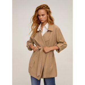 MangoBelt flowy trench - Women | Mango USA