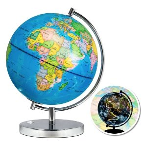Best Choice Productscode: MOON257.5in Light-Up World Geographical Globe w/ Constellations and Illustrations