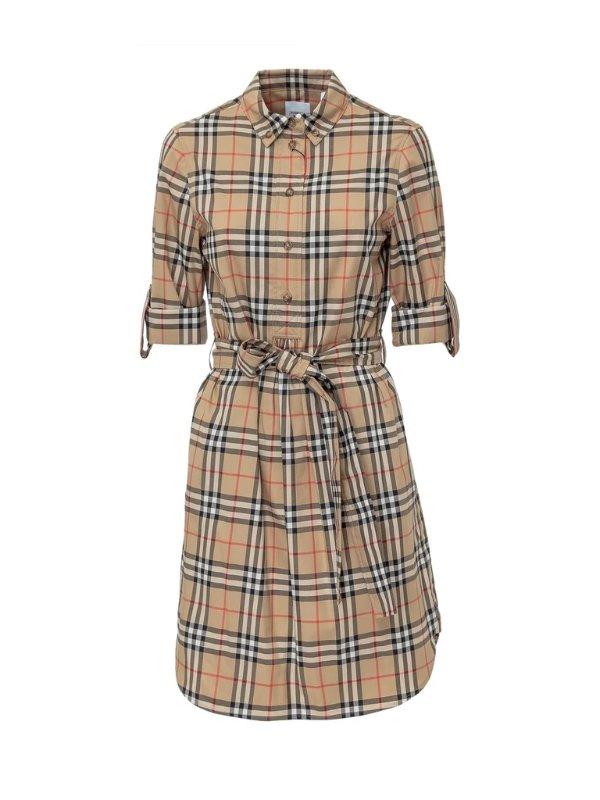 格纹系带衬衫裙