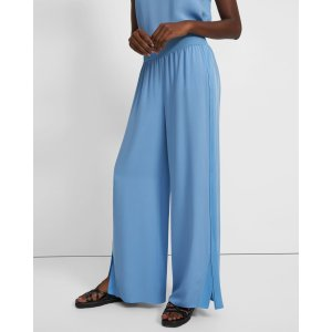 TheoryWide-Leg Pull-On Pant in Silk