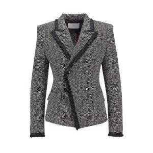 Hugo BossDouble-breasted regular-fit jacket in stretch tweed