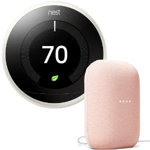 Nest3rd Generation Learning Thermostat in White + Nest Audio Smart Speaker in Sand