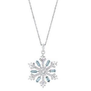 925纯银水晶星星吊坠促销 精致小雪花