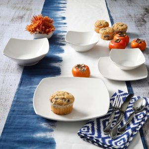 $39.99Gourmet Expressions 白色餐碟套装40件 圆形和方形可选