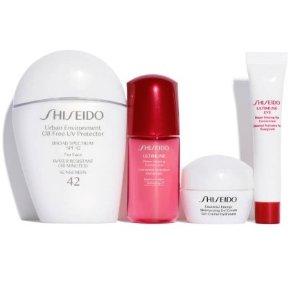 $48(原价$103)+免邮上新:Shiseido 超火4件套小白瓶防晒套装上新