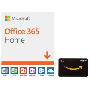 $99.99 (原价$149.99)Microsoft Office 365 Home 12月/6用户 订阅 + $50礼卡