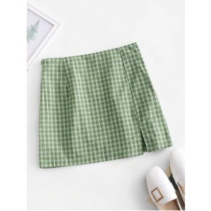 Side Zipper Plaid Front Slit Mini Skirt BLUE GRAY GREEN ORANGE YELLOW