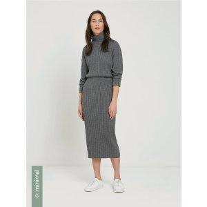 Frank And OakMerino Wool Sweater Skirt in Rocky heather