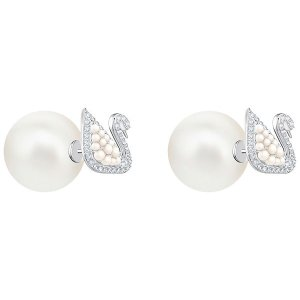 7927bb46f SwarovskiGet $20 off $150 purchase.| Iconic Swan Stud Pierced Earrings,  White, Rhodium