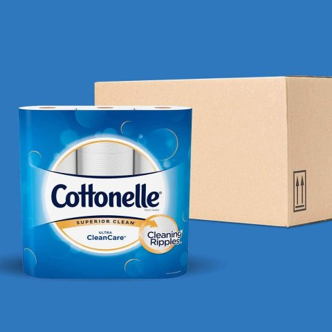 Cottonelle Ultra CleanCare Soft Toilet Paper with Active CleaningRipples, 24 Family Mega Rolls