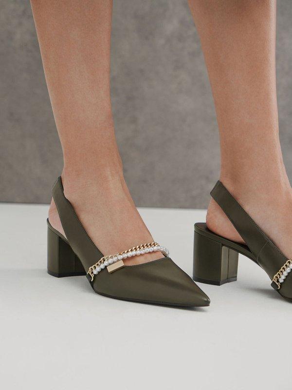 珍珠链条穆勒鞋