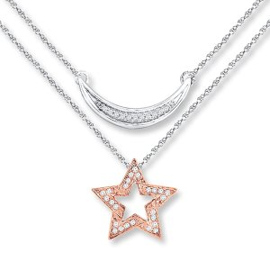Star Necklace 1/20 ct tw Diamonds Sterling Silver/10K Gold|Kay