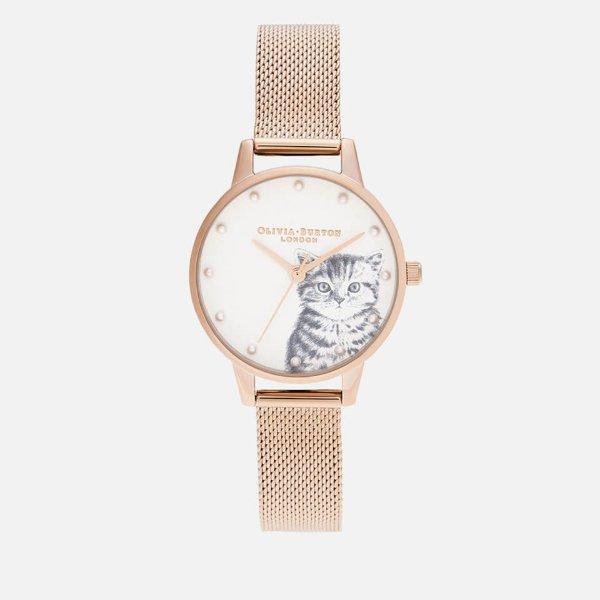 小猫咪复古金手表