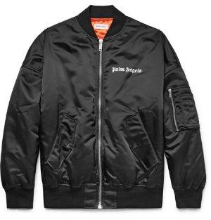Palm Angels - Logo-Print Shell Bomber Jacket
