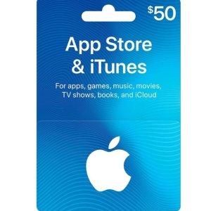 $45 (原价$50) 立享9折$50 App Store & iTunes 礼卡 Email 发送 / 实体卡