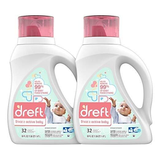 第二阶段:婴儿、新生儿低过敏性洗衣液,50盎司,2瓶