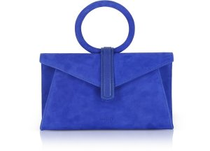 Complet Royal Blue Suede Valery Mini Clutch Bag w/Shoulder Strap