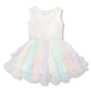 The Children's PlaceBaby And Toddler Girls Sleeveless Sequin Knit-To-Woven Dress