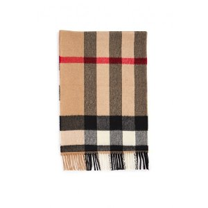 Burberry- Checked Scarf - Camel