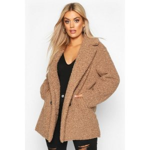BoohooPlus Teddy Faux Fur Double Breasted Coat