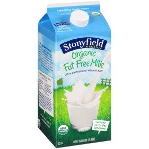 Stonyfield Organic Fat Free Milk, 0.5 gal - Walmart.com