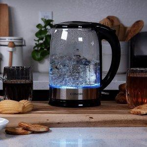 $34.81 (原价$54.99)COSORI 1.7L 大容量不锈钢玻璃烧水壶 好看又好洗