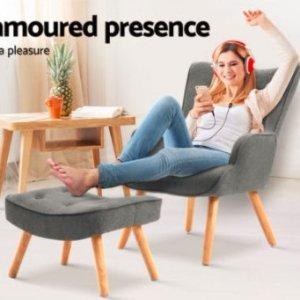 $151 (原价$189)Artiss Lansar 灰色沙发椅加脚蹬