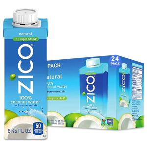 近期好价$24.74 一瓶$1.08ZICO 100% 无糖纯正椰子水 8.45oz 24瓶