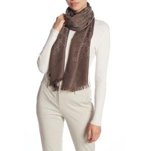 GucciLogo Print Wool & Silk 丝质围巾