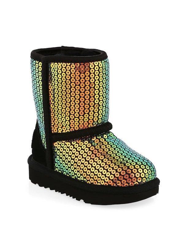 女童亮片雪地靴,大童码 3-6