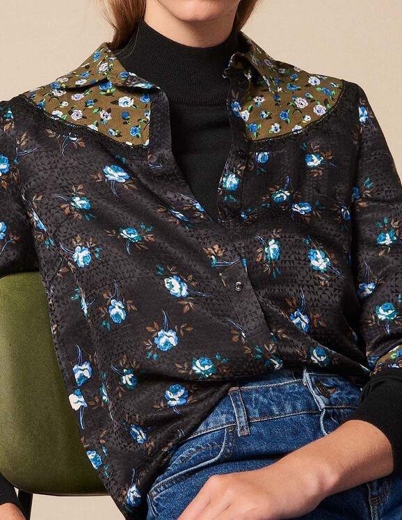 印花蕾丝衬衫