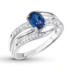 Blue & White Lab-Created Sapphire Ring Sterling Silver|Kay