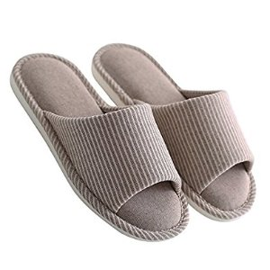 House Slippers Non-slip Open Toe Couple Sandals Knitted Cotton Mules Shoes