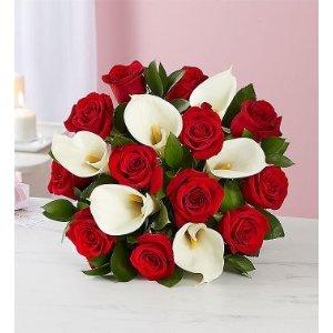 红玫瑰+百合鲜花花束