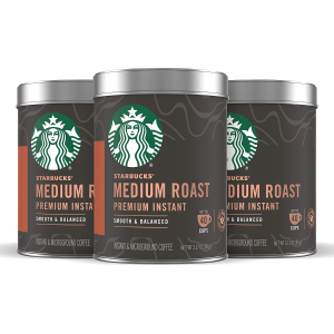 $26.06 Only $0.22 per cupStarbucks Premium Instant Coffee — Medium Roast — 100% Arabica — 3 Tins (up to 120 cups total)