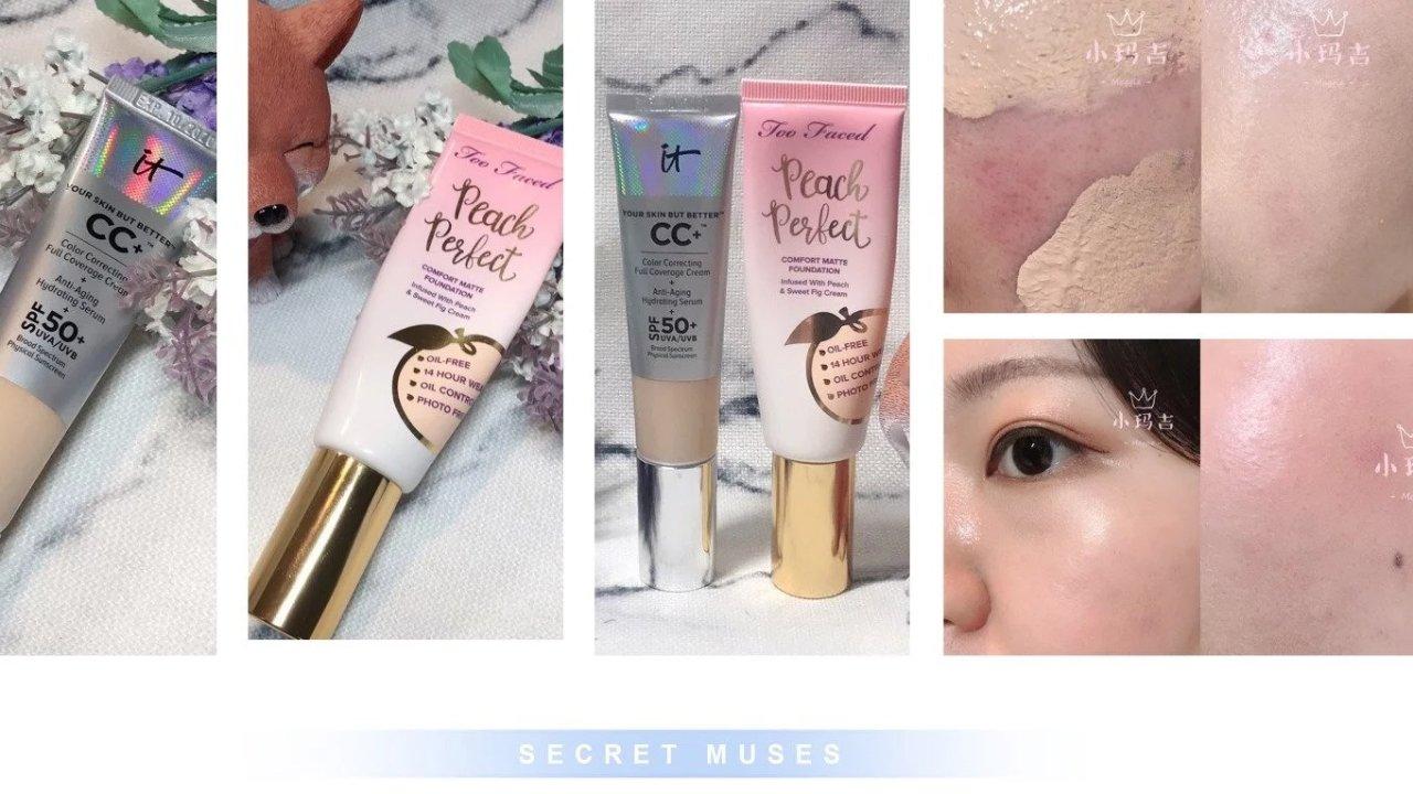 要对比也要混合❤️Too Faced Peach Perfect粉底液 VS. IT Cosmetics CC Cream Fair