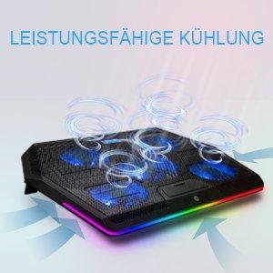 游戏好伴侣 仅售€36.99TECKNET 笔记本散热器 自带静音风扇 15种RGB侧灯