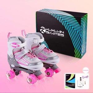 $41.99(原价$69.99)史低价:儿童可调节式旱冰鞋/溜冰鞋 自带炫酷LED 让你脚底生风
