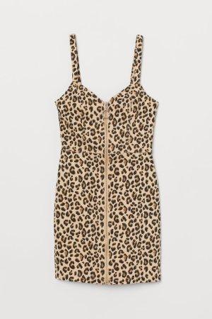 Twill Dress - Beige/leopard print -    H&M US