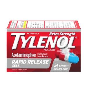Tylenol 退烧止痛速效胶囊 500mg, 24粒
