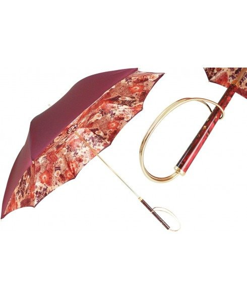 双层布 红色印花雨伞