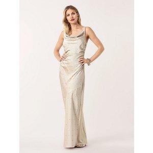 Diane von Furstenberg施华洛世奇钻装饰缎面裙